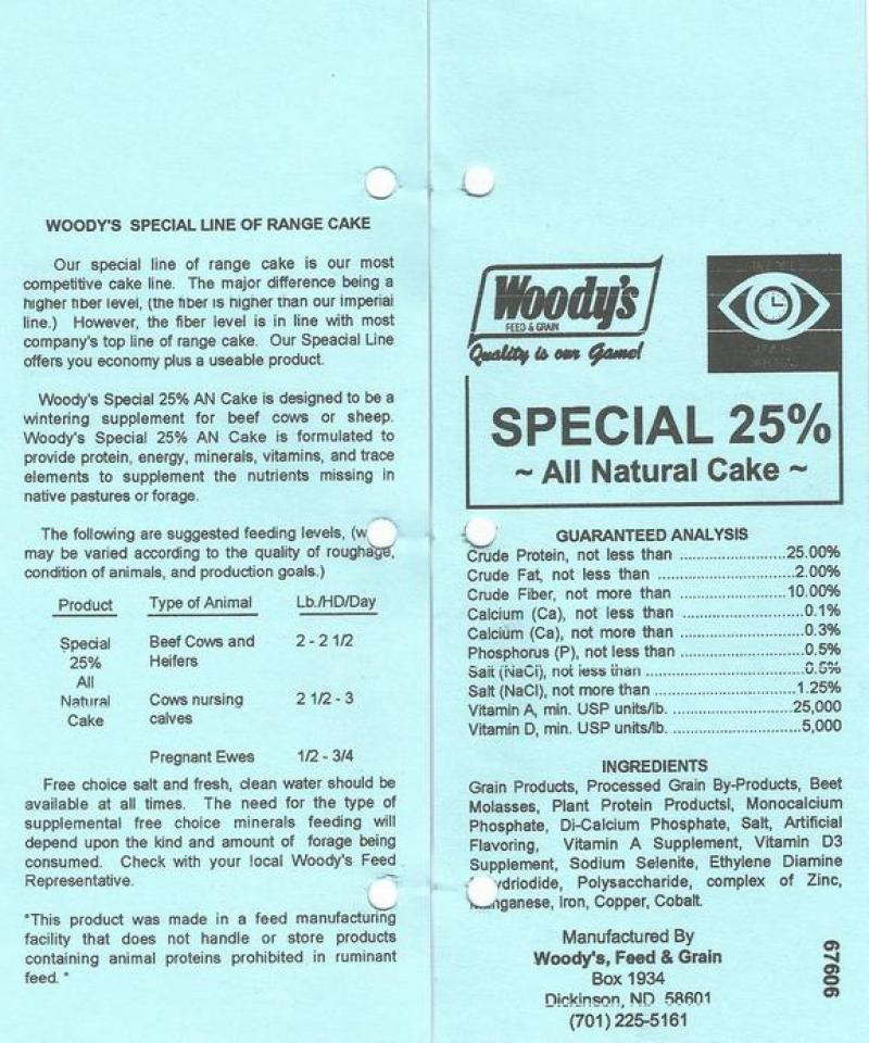 Woodys Special 25% All Natural Range Cake Feed and Mineral Image