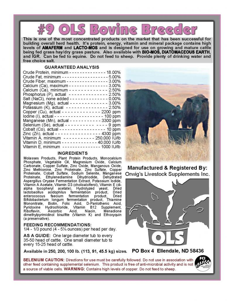 OLS #9 Bovine Breeder Feed and Mineral Image